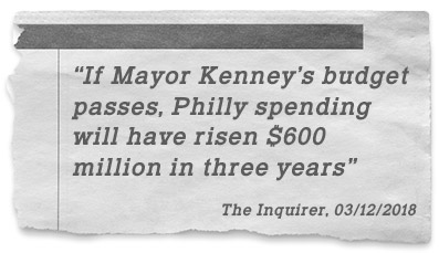 """If Mayor Kenney's budget passes, Philly spending will have risen $600 million in three years"" - The Inquirer, 03/12/2018"